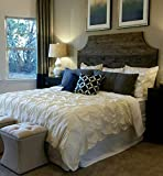 Product review for King Dark Walnut with Corner Cut Outs Rustic Wood Headboard, Chic
