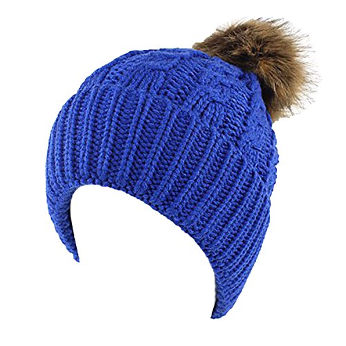 Hat Womens Girls Knit Beanie Hat Bobble Ski Cap Beanies Royal (Royal Blue Winter Beanie)