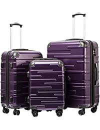 Luggage Expandable Suitcase 3 Piece Set with TSA Lock Spinner 20in24in28in (purple)