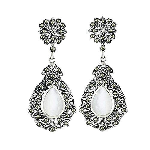 Stering Silver Filigree Victorian Style Mother-of-Pearl Tear Drop and Marcasite - Teardrop Marcasite Earrings