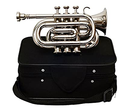 Queen Brass Pocket Trumpet Chrome Finish B-Flat W/Case+Mp Silver
