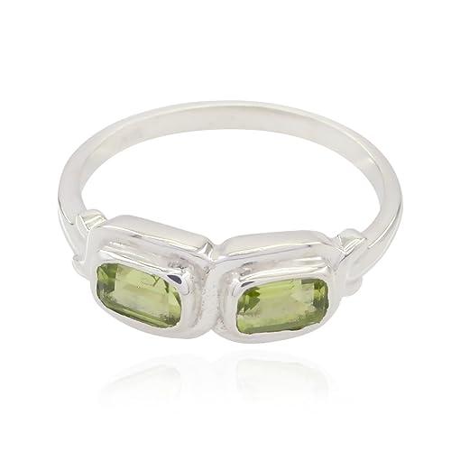 gemas genuinas octágono tallado anillos de peridoto - plata esterlina peridoto verde genuino anillo de gemas