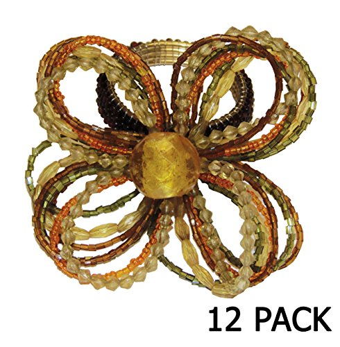 Cotton Craft – 12 Pack Beaded Napkin Ring Set – Floral Strands Gold Orange Multi – Hand Made by skilled artisans – A beautiful complement to your dinn…