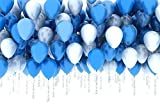 Hosaire 20 Pcs Balloons Latex Round Blue White Helium Balloons Party Decorative, 10 Bule 10 White