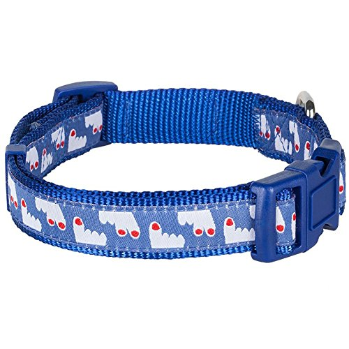Blueberry Pet 5/8-Inch Happy Pooch Fingers Up Basic Polyester Nylon Dog Collar, Small