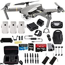 DJI Mavic Pro Platinum Fly More Combo Travel Bundle: 2 Extra Batteries, Professional Case and More