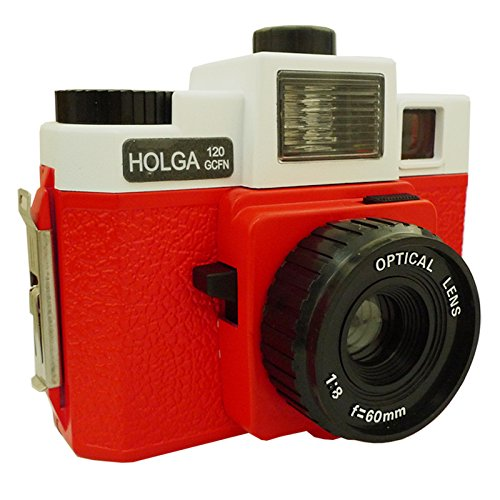Holga 120GCFN White / Red with Glass Lens and Colored Flash Film Camera by Holga