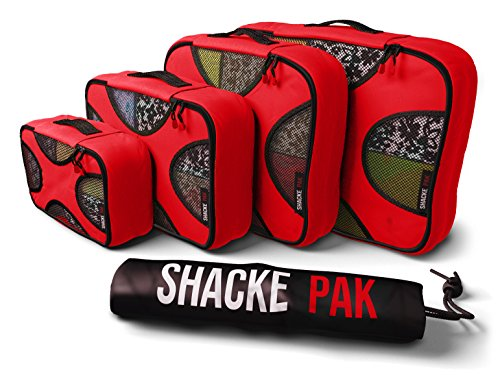 (Shacke Pak - 4 Set Packing Cubes - Travel Organizers with Laundry Bag (Warm Red))