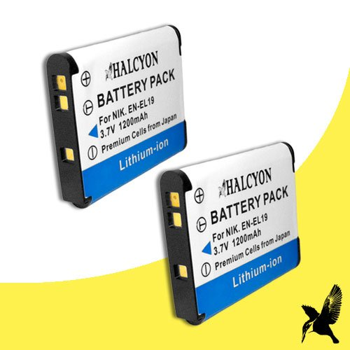 Two Halcyon 1200 mAH Lithium Ion Replacement Battery for Nikon COOLPIX S6800 Digital Camera and Nikon EN-EL19 -