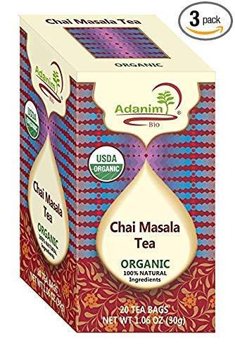 ADANIM CHAI MASALA TEA BAGS -Organic Bombay Chai Herbal Tea Blend of Ginger,cardomom,cinnamon & Clove (Pack of 4,80 count)