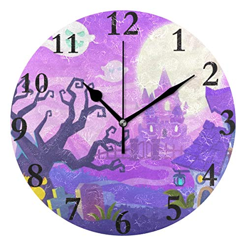 Ladninag Wall Clock Happy Halloween Pumpkin Silent Non Ticking Decorative Round Digital Clocks for Home/Office/School Clock ()