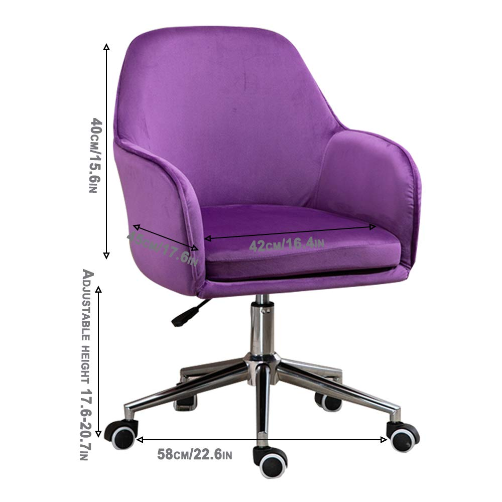 Kontorsstol med armstöd och tyst Caster-ergonomisk design 360-graders vridbar vikt kapacitet 249,5 kg Lila