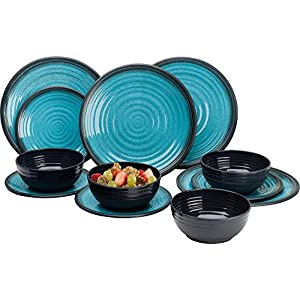 Granite Aqua Premium Plus 12pc Dinner Set Melamine Tableware Dinnerware Caravan Accessories