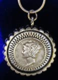 Sterling silver necklace coin pedant 90% silver Mercury Dime +GIFT BAG
