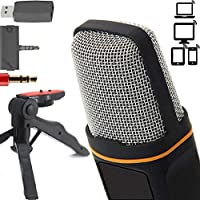 ZaxSound Professional Cardioid Condenser Microphone with Tripod Stand for PC, Laptop, iPhone, iPad, Android Phones,...
