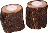 A Pair of Natural Olive wood Candle holders or sticks for tealight candles (8.5 cm or 3.5 inches) - pair of Candles