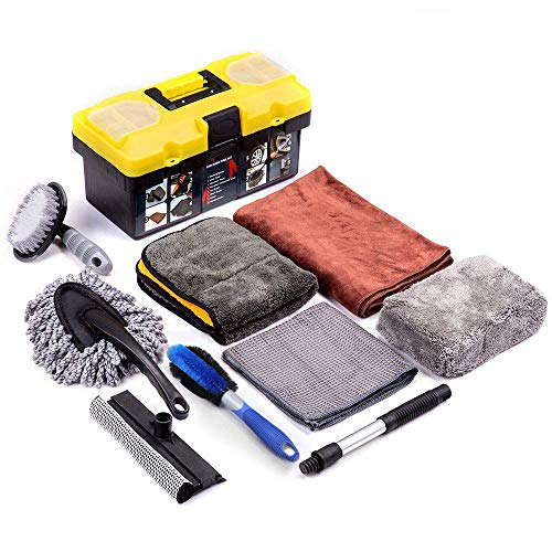 Mofeez 9pcs Car Cleaning Tools Kit with Blow Box Car Tire Brush Wash Mitt Sponge Wax Applicator Microfiber Cloths Window Water Blade Brush