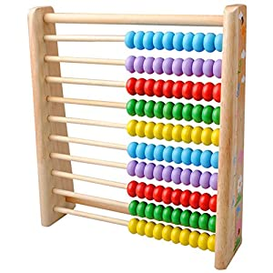 TININNA Colorful Beads Wooden Wood Mathematics Abacus Soroban Childs Educational Learning Toy