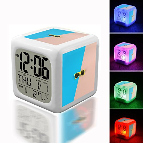 Alarm Clock 7 LED Color Changing Wake Up Bedroom with Data and Temperature Display (Changable Color) Customize The pattern-628.Yelllow Framed Wayfarer Sunglasses