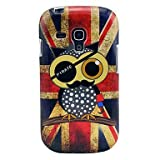 Topforcity Vintage Union Flag Owls Glossy TPU Soft Cover Case for Samsung Galaxy S3 Mini i8190
