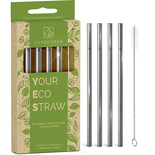 """Stainless Steel Reusable Drinking Straws 6"""" Short & Safer Straws for Kids, Coffee, Bar, Cocktail Glasses, Half Pint Jars, Ecologically Friendly, Set of 4 Metal Straws with Brush & Silicone Tips"""