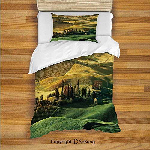 (SoSung Tuscan Kids Duvet Cover Set Twin Size, Peaceful Landscape of Pienza Tuscany Vineyard Trees Meadow Hill Ancient House 2 Piece Bedding Set with 1 Pillow Sham,Green and Khaki)
