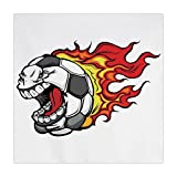 iPrint Polyester Square Tablecloth,Sports Decor,Cartoon Image of a Flaming Soccer Ball with Aggressive Angry Mean Face,Dining Room Kitchen Picnic Table Cloth Cover,for Outdoor Indoor