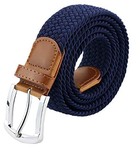 Maikun Mens Belt, Canvas Elastic Belt, Web Belt 33 41 (Blue Canvas Belt)