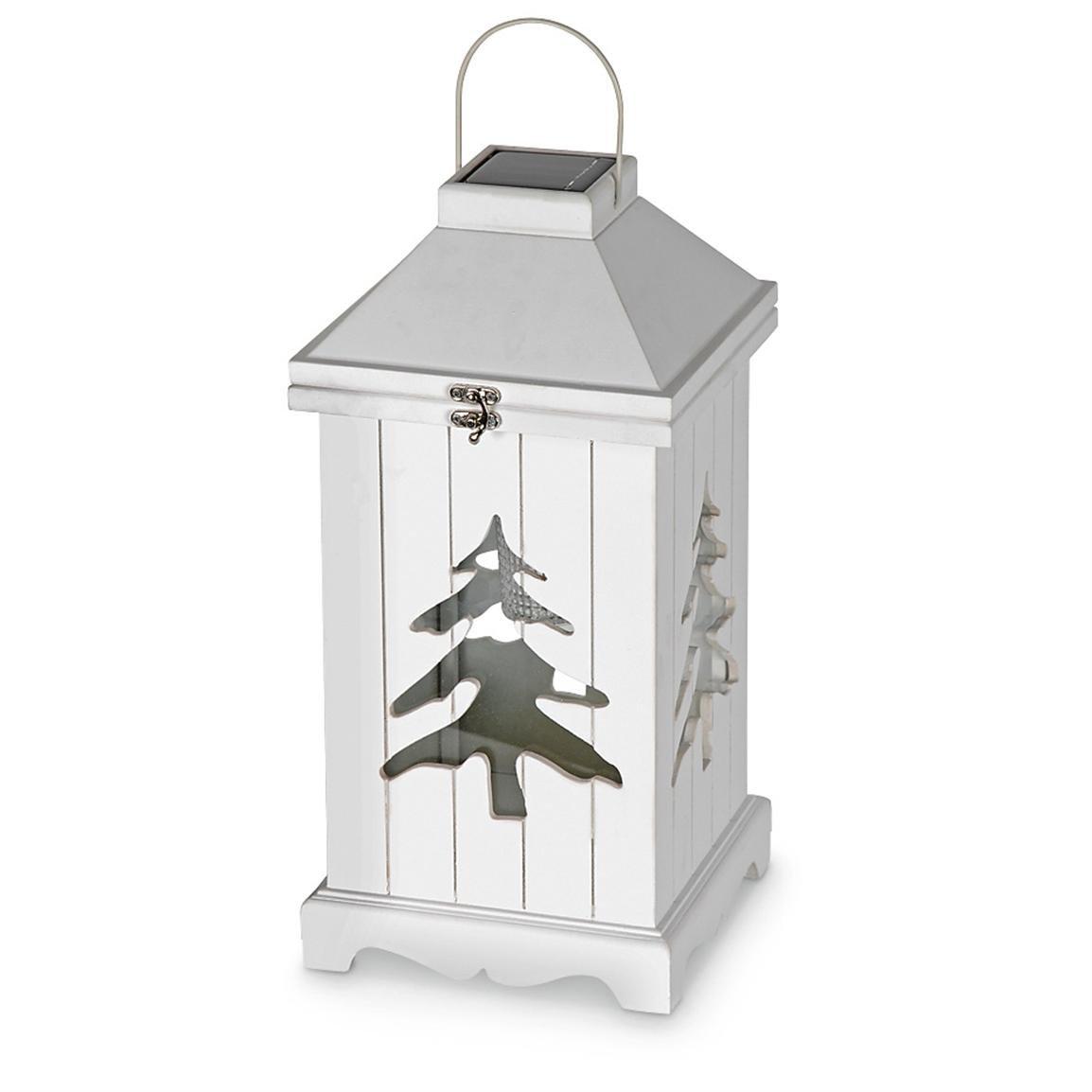 LOT OF 4 ASTONICA Wood Solar Light Lantern Holiday Style Hanging Evergreen Tree
