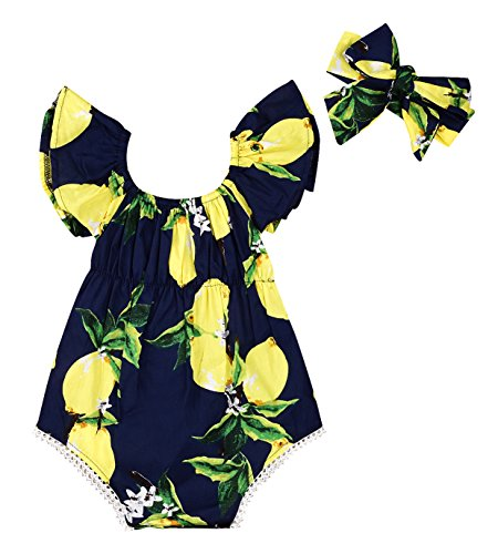 Baby Girls Watermelon Orange Lemon Fruits Print Ruffle Sleeve Romper With Headband...