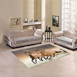 Happy More Custom Horse Area Rug Cover Indoor/Outdoor Decorative Floor Rug 7'x5'