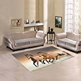Happy More Custom Horse Area Rug Cover Indoor/Outdoor Decorative Floor Rug 5'3″x4′ For Sale