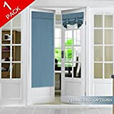 Flamingo P Tricia Door Panel Curtain Blackout Rod Pocket Single French Door Curtain, Full Privacy Thermal Insulated Window Treatment Curtain Panel Drapes, 1 Panel, 26 x 68 Inches, Stone Blue