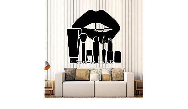 Vinilo removible Tatuajes de Pared Labios Maquillaje Cosméticos Pegatinas Salón de Belleza Decoración de Ventanas de Pared Arte Decoración del hogar Sala de Estar Z 42x47cm: Amazon.es: Hogar