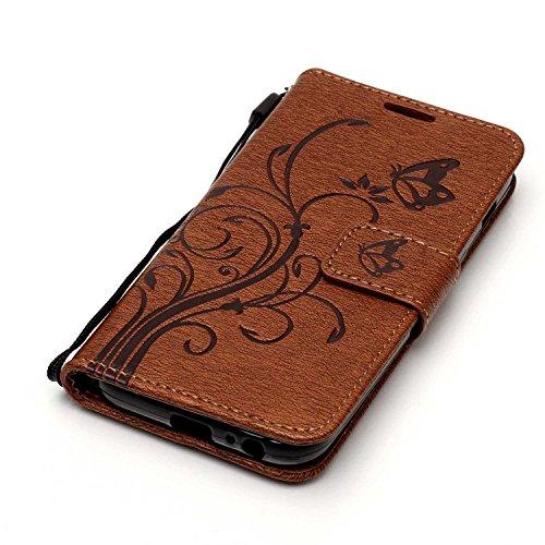 iPhone 5 5S SE Hülle Tasche Schutzhülle Case Cover Bumper Geldbeutel und Anti-Scratch Löschen Back für Apple iPhone 5 5S SE Braun