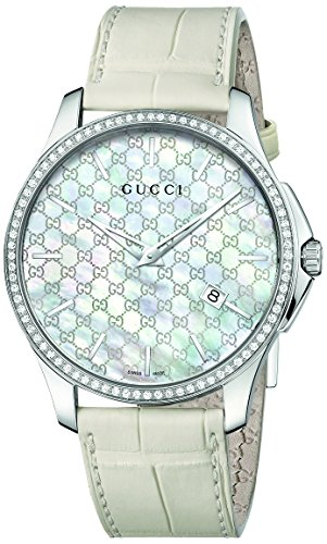 Gucci G-Timeless Mother of Pearl Dial Leather Strap Ladies Watch YA126306