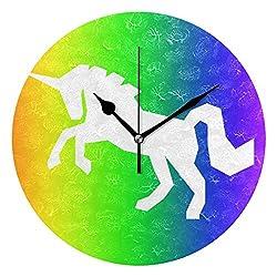 Ladninag Wall Clock Super Rainbow Unicorn Silent Non Ticking Decorative Round Digital Clocks Indoor Outdoor Kitchen Bedroom Living Room