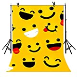 Cartoon Photography Backdrops 6FTx 9FT Emoji Expressions Background Cute Funny Smile Face Decorative Picture for Children Art Studio Newborn Infant Shower or YouTube Backdrop 6X9STFBA2