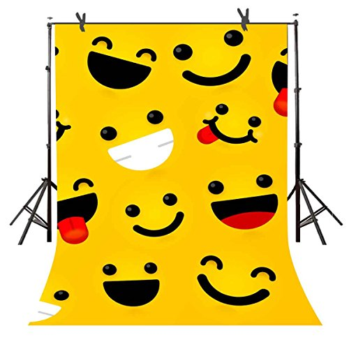 Cartoon Photography Backdrops 6FTx 9FT Emoji Expressions Background Cute Funny Smile Face Decorative Picture for Children Art Studio Newborn Infant Shower or YouTube Backdrop 6X9STFBA2 by S