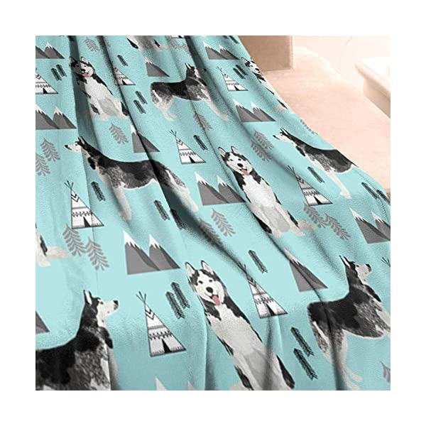 Unicorns Farting Siberian Husky Dog and Mountains Summer Thick Blanket Cozy Couch Warm Throw Blanket Flannel Fleece Blanket, 59 X 79 Inch 3