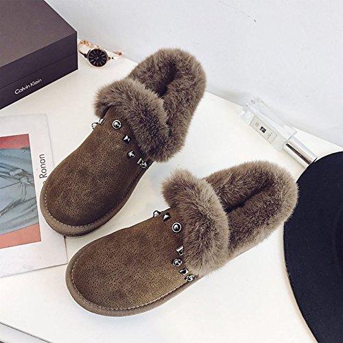 abbigliamento stivaletti casual Autunno kaki stivaletti Inverno Black Toe di donna Comfort nero Round stivali Boots Pelle PU Nabuck Snow HSXZ tacco Scarpe piatto wUHZxx