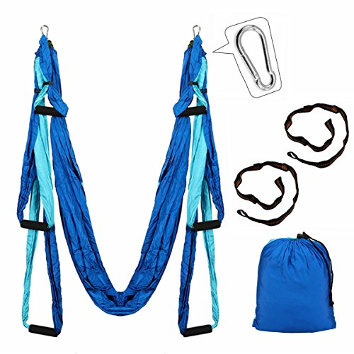 Aerial Yoga Swing Kit, Slimerence, Decompression Antigravity Yoga Hammock, Sling Hammock with 2 Daisy Chain Adjustable Straps, Trapeze Aerial Yoga Prop Blue2