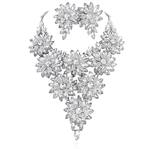 Austrian Crystal Daisy Floral Vine Necklace and Earrings Set in Silver ()
