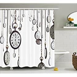 Ambesonne Antique Decor Collection, Many Old Style Pocket Watch on Chain Clocks Chronometer Hours Antique Image, Polyester Fabric Bathroom Shower Curtain, 84 Inches Extra Long, White Grey