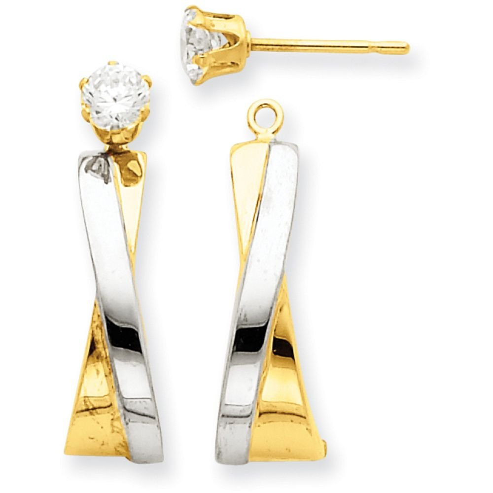 14k Gold Polished Twisted 'X' J-Hoop Jackets for Stud Earrings (0.94'' Height) - Rhodium-Plated-Yellow-Gold
