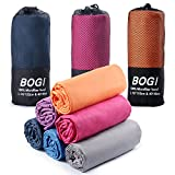 BOGI Microfiber Travel Sports Towel-(L:60''x30''+16''x16'')-Antibacterial Dry Fast Soft Lightweight Absorbent&Ultra Compact-For Camping Gym Beach Bath Yoga Backpacking Fitness+Gift Bag&Carabiner(L:O)