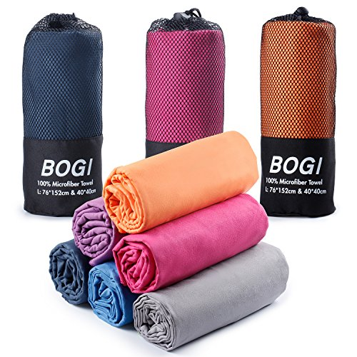 BOGI Microfiber Travel Sports Towel-(XL:72''x32''+16''x16'')-Antibacterial Dry Fast Soft Lightweight Absorbent&Ultra Compact-For Camping Gym Beach Bath Yoga Backpacking Fitness+Gift Bag&Carabiner(X:H)