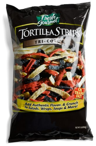 (Fresh Gourmet Crunchy Toppings for Salad, Tri-Colored Tortilla Strips, 16-Ounce Packages (Pack of 10))