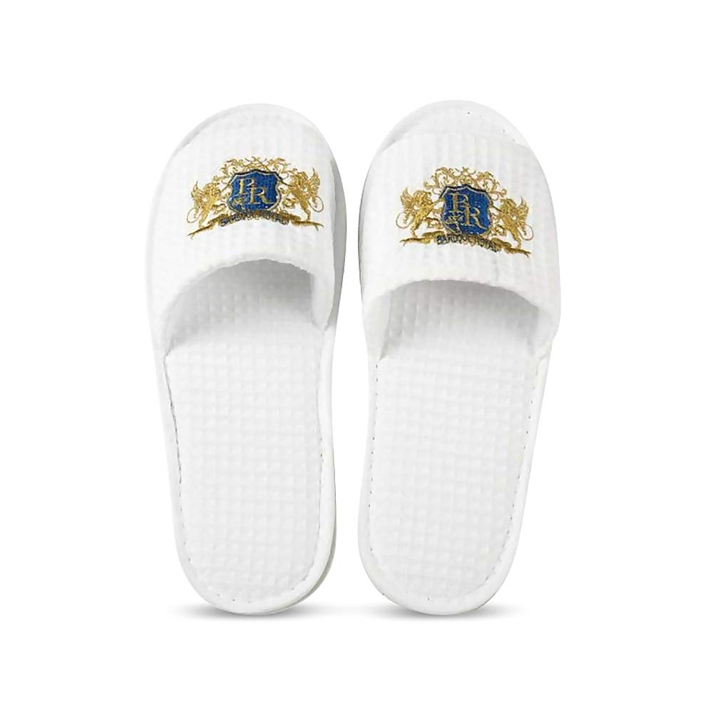 Baroque Royal Disposable Waffle Indoor Spa Slippers, Bulk Pack of 12, Soft Cotton Hotel Slippers for Guests, Non-Slip EVA Sole, White Open Toe House Slippers for Women, Men, Travel, AirBnb by Baroque Royal