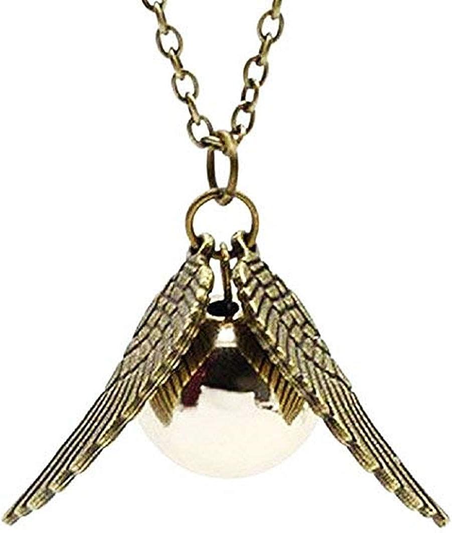 Legisdream - Collar con colgante de bocado de oro, perla dorada y alas de ángel saga mago, ideal como regalo para fiestas, varios amores, amistad, cumpleaños, Navidad